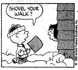 charlie brown shovelling