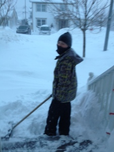 Son shoveling the front stoop instead of doing his math homework.  Fair trade...I guess.